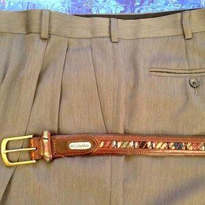COLUMBIA- Men's Leather Belt w/Stitching/Lacing